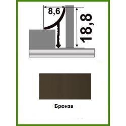 Алюминиевый порожек для керамической плитки ВАП-10 бронза