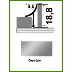 Алюминиевый порожек для керамической плитки ВАП-10 серебро