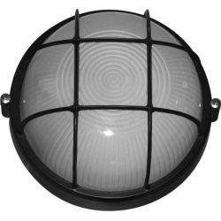 Светильник 0302 60W IР65 черный (круг решетка)