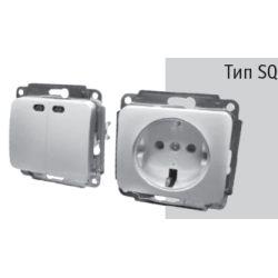 Механизм Выключателя двухклавишный BBсб10-1-0-Sq-W с подсветкой