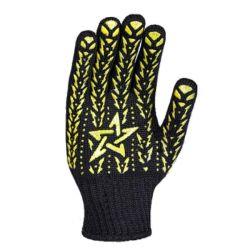 Перчатки рабочие черные с желтой звездой ПВХ