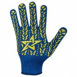 Перчатки рабочие синие с желтой звездой ПВХ