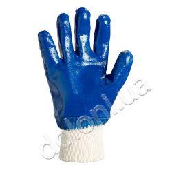 Перчатки рабочие нитрил полный облил гладкие (манжет вязаный)