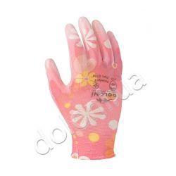 Перчатки трикотажные с полиуретановым покрытием розовые, 8 размер