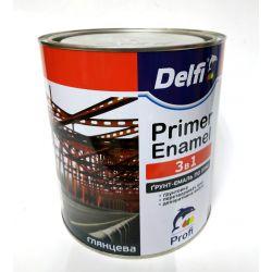 Грунт-эмаль 3в1 2,8кг Delfi Сера 0,9 кг
