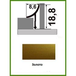 Алюминиевый порожек для керамической плитки ВАП-10 золото