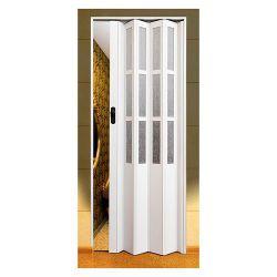 Двери гармошка SYMFONIA арктическое белое стекло