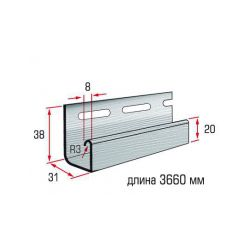 Планка J-trim светло серый 3,66 м