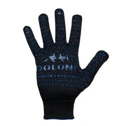 Перчатки рабочие чорные с синей точкой ПВХ