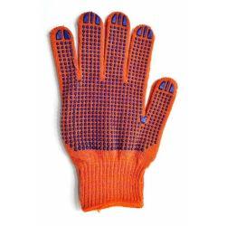 Перчатки трикотажные оранжевые с рисунком FORA